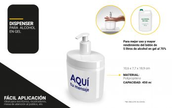Dispenser de Alcohol en Gel 450ml